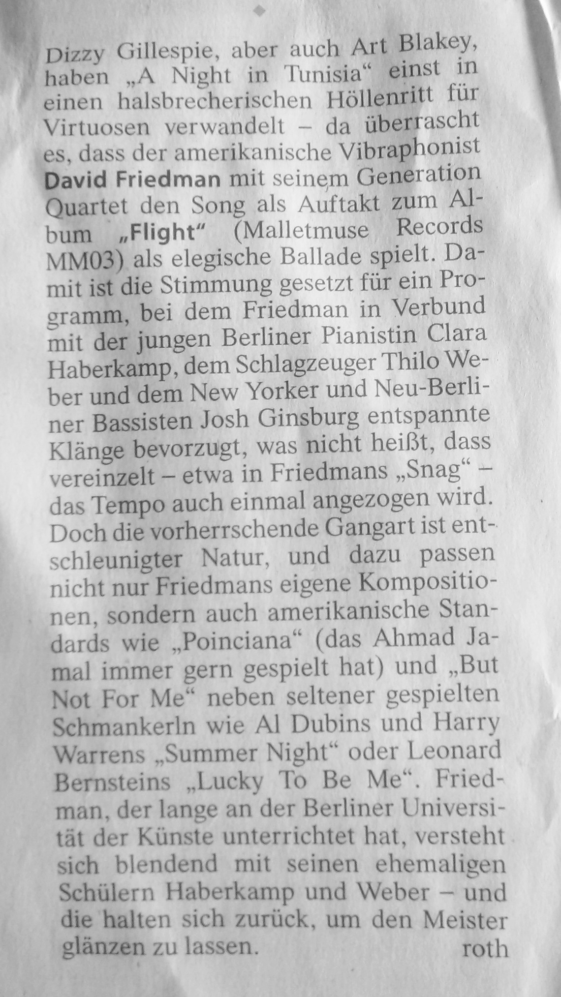 David Friedman generations Quartet Frankfurter Allgemeine Zeitung review Flight