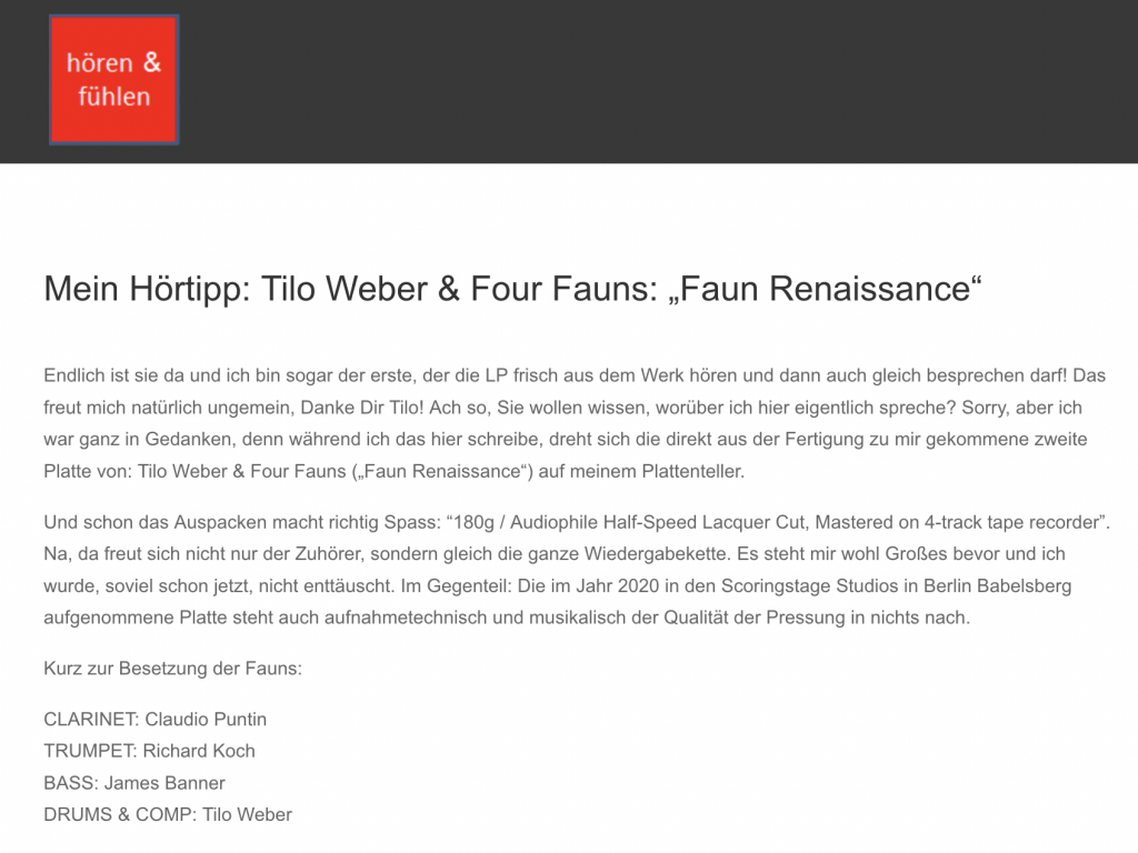 Claus Volke Rezension Blog Hören & Fühöen Tilo Weber Faun Renaissance